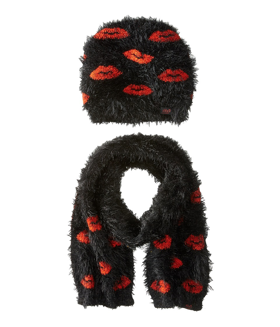 IKKS - Eyelash Faux Fur Beanie Scarf Set with Lip Print (Little Kids/Big Kids) (Noir) Beanies