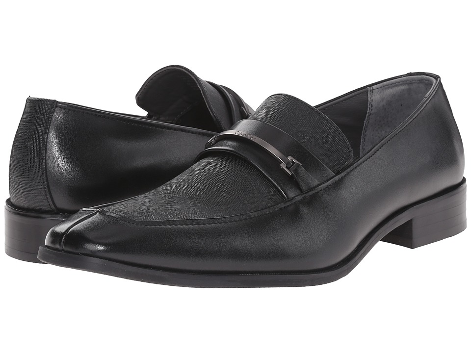 Calvin Klein - Gallard (Black Textured Leather) Men's Slip-on Dress Shoes