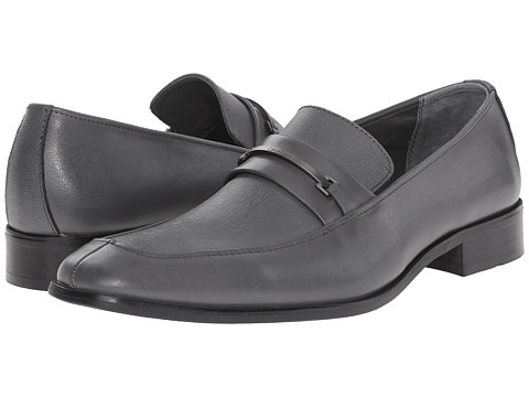 Calvin Klein - Gallard (Pewter Textured Leather) Men's Slip-on Dress Shoes