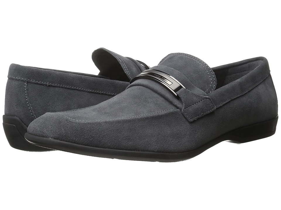 Calvin Klein - Vick (Shark Tumbled Leather) Men's Slip-on Dress Shoes