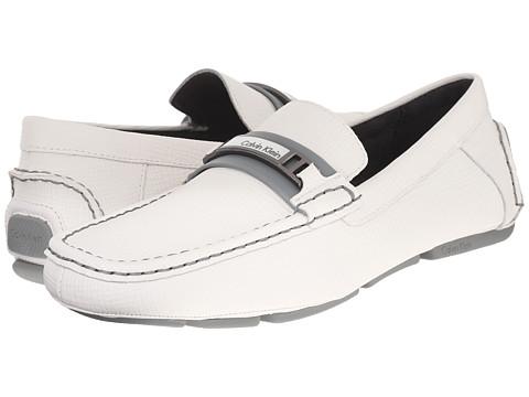 Calvin Klein - Marlon (White Embossed Leather) Men's Slip-on Dress Shoes