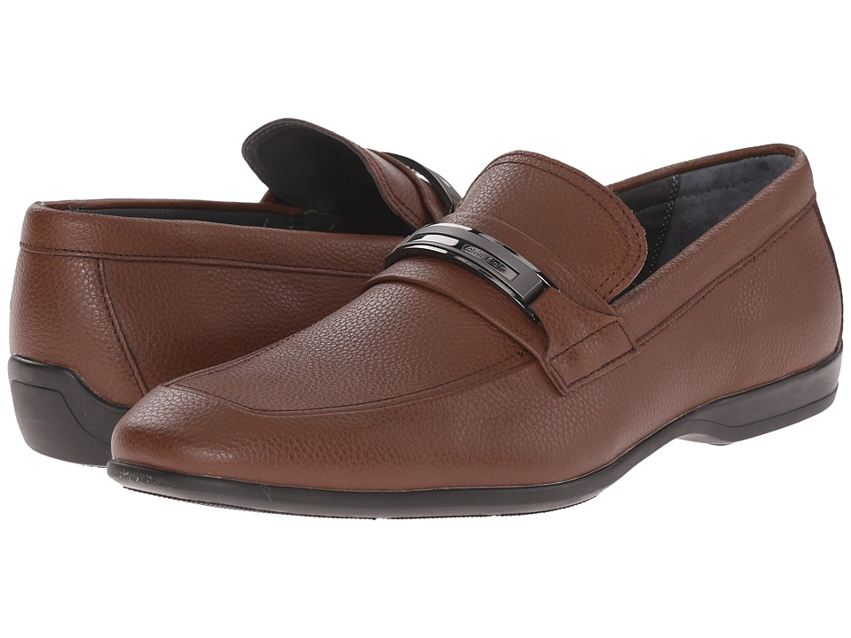 Calvin Klein - Vick (Dark Brown Tumbled Leather) Men's Slip-on Dress Shoes