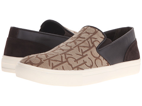 Calvin Klein - Phoenix (Khaki Logo Jacquard) Men's Slip on Shoes