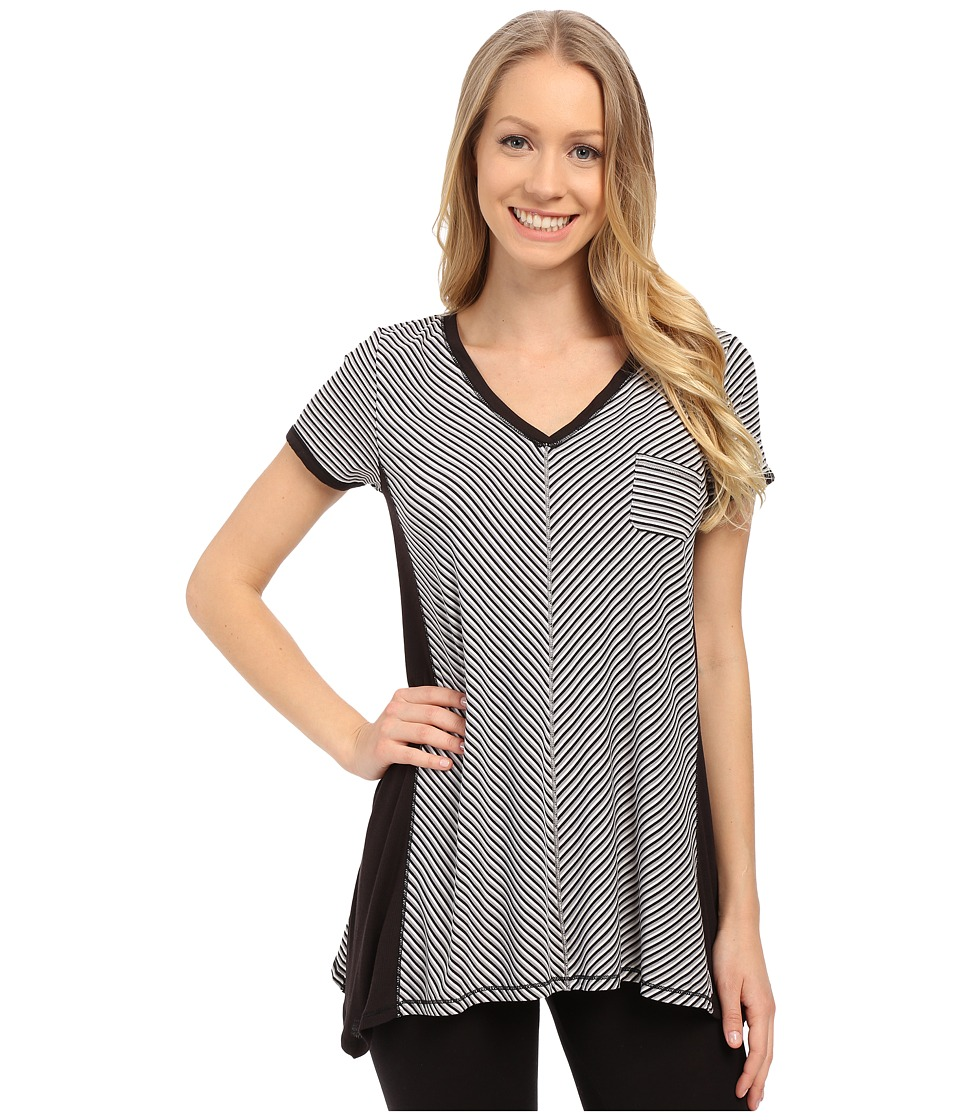 DKNY - Urban Essentials Short Sleeve Top (Black Stripe) Women