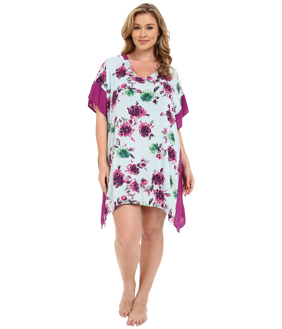 DKNY - Plus Size Spring Ahead Caftan (Spa Floral) Women's Pajama plus size,  plus size fashion plus size appare