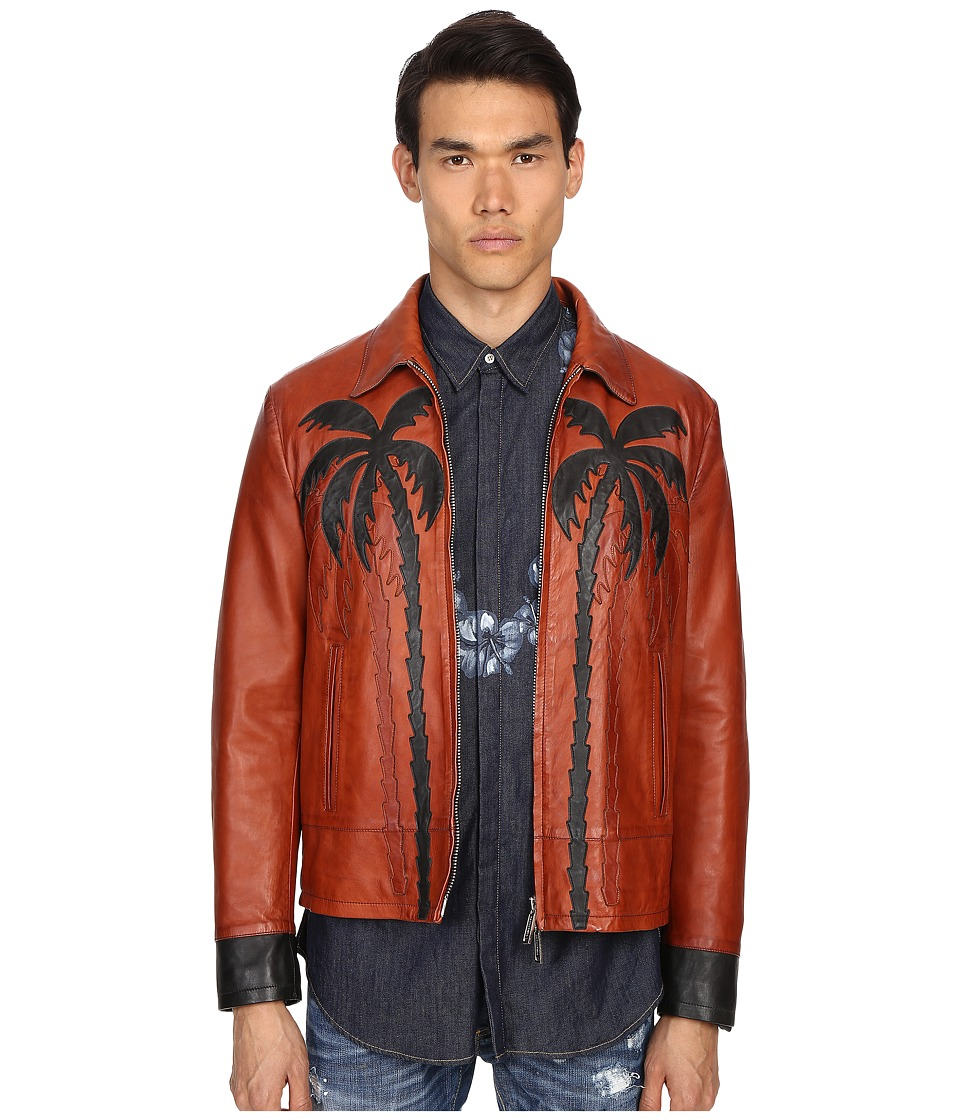 DSQUARED2 - Palms Patch Leather Bomber (Brick) Men's Jacket