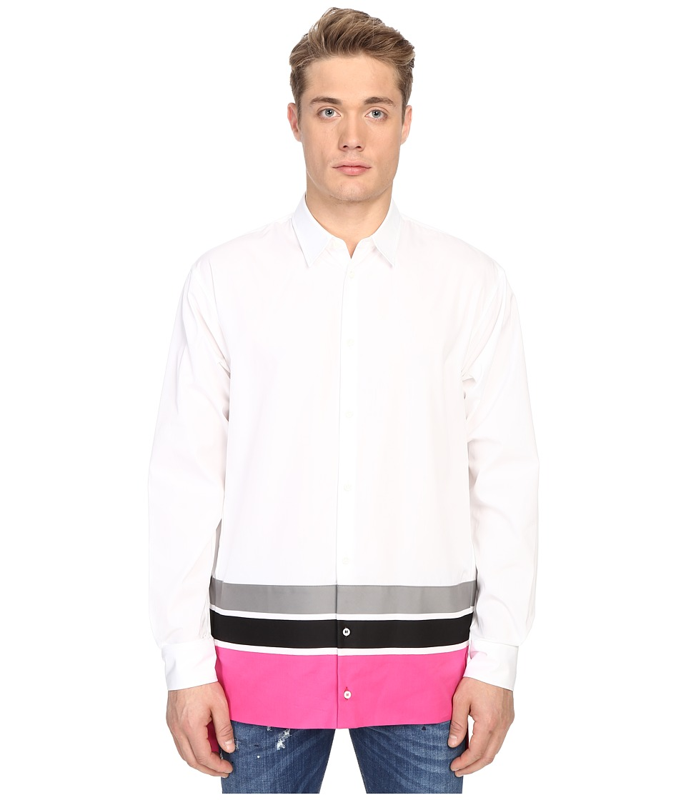 DSQUARED2 - Techno Stripe Poplin Shirt (White/Grey/Black/Fuxia) Men's Long Sleeve Button Up