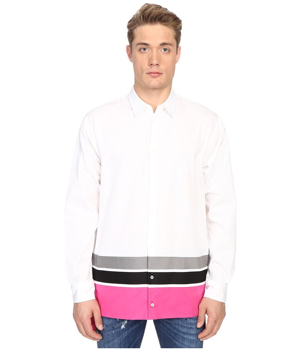 DSQUARED2 - Techno Stripe Poplin Shirt (White/Grey/Black/Fuxia) Men's Long Sleeve Button Up