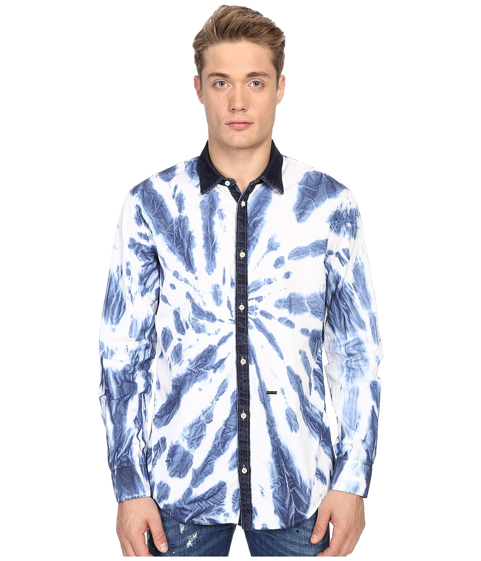 DSQUARED2 - Tie-Dye Wash Relax Dan Shirt (White/Denim) Men's Long Sleeve Button Up
