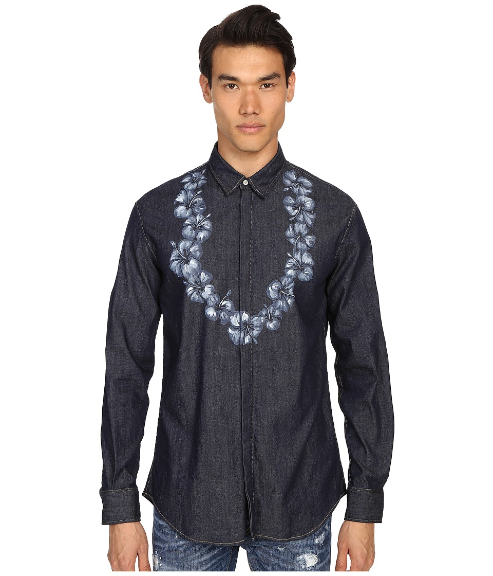DSQUARED2 - Printed Lay Denim Shirt (Blue) Men's Clothing