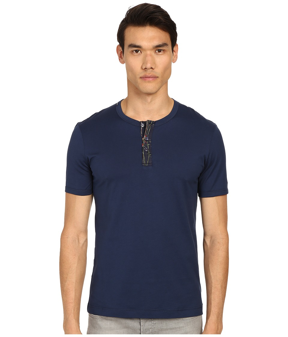 Dolce & Gabbana - Short Sleeve R-Neck T-Shirt w/ Buttons (Blue Navy) Men's Short Sleeve Pullover