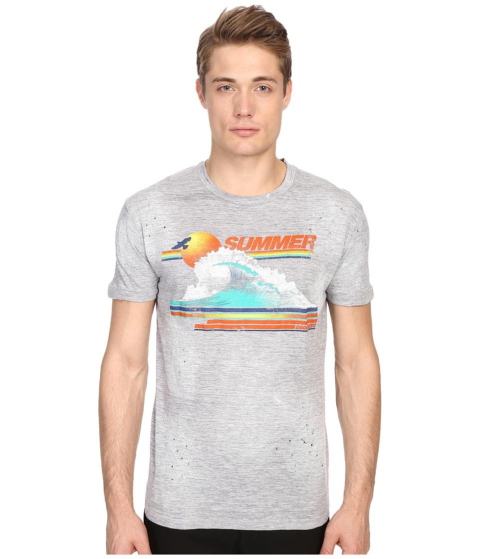 DSQUARED2 - Chic Dan Fit Vintage Rainbow Tee (Grey Melange) Men's T Shirt