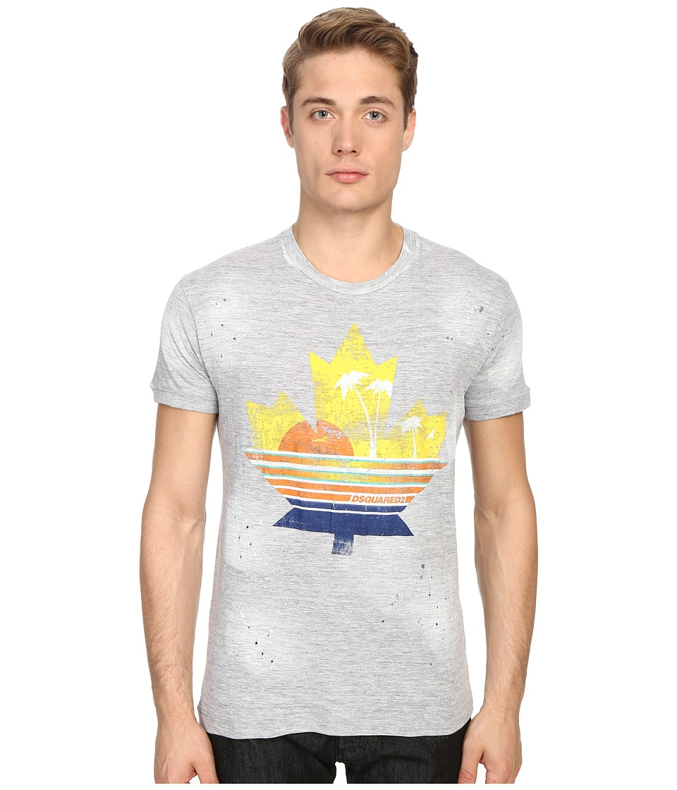 DSQUARED2 Chic Dan Fit Leaf Tee (Grey Melange) Men
