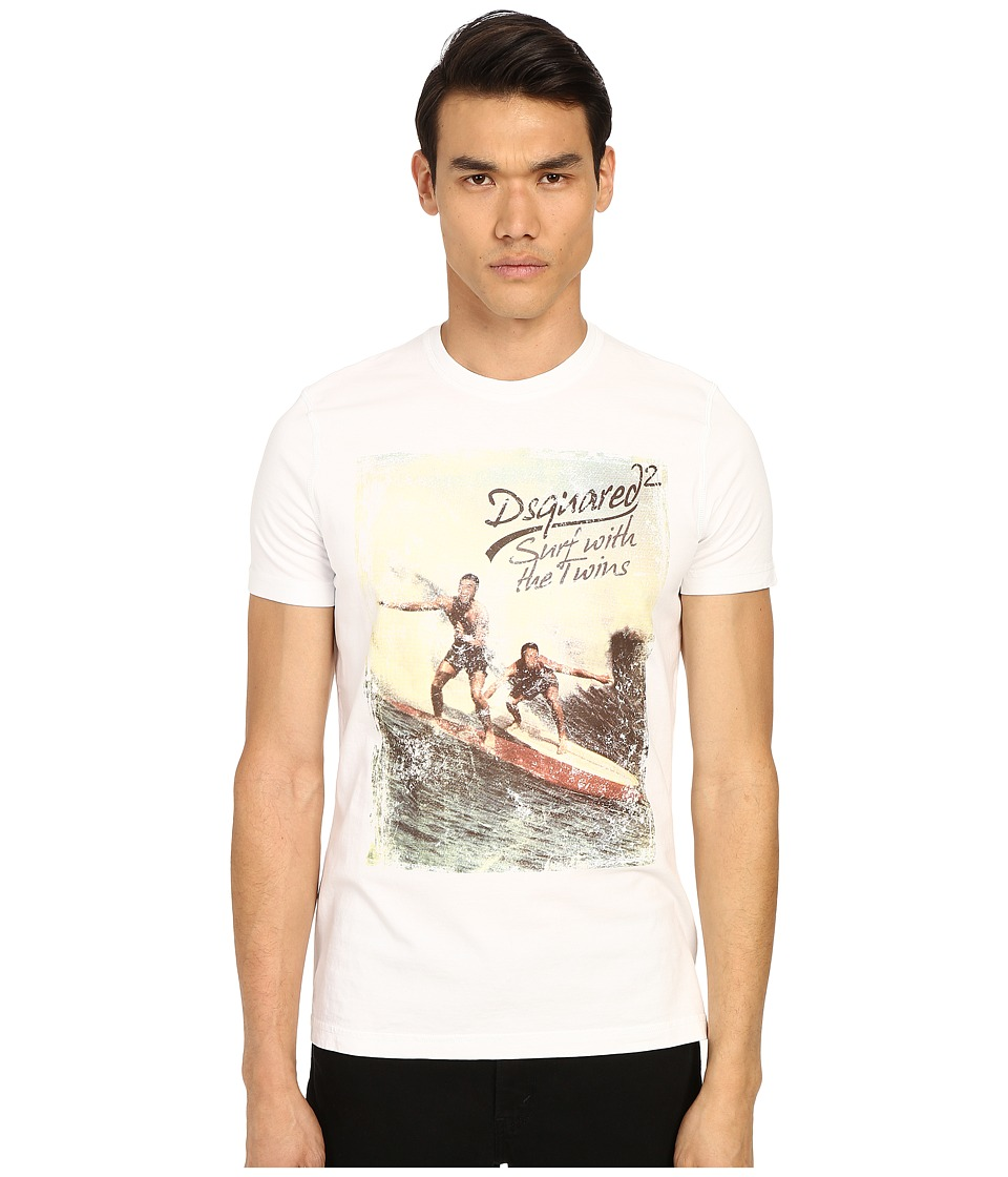 DSQUARED2 - Classic Fit Vintage Rainbow Tee (White) Men's Short Sleeve Pullover