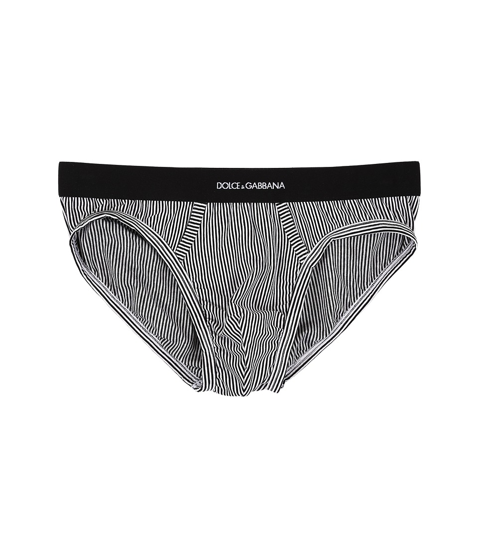 Dolce & Gabbana - Stripes Midi Brief (Stripes White Background) Men's Underwear