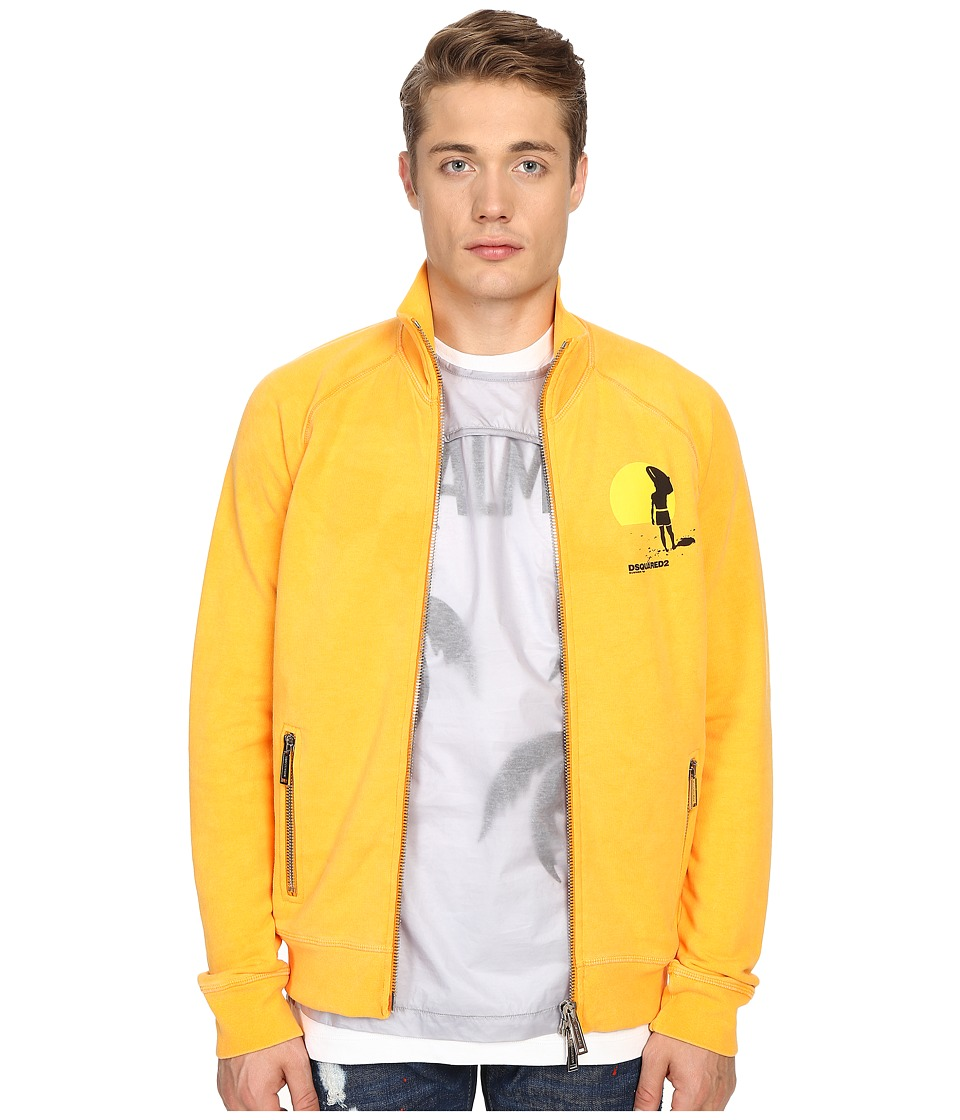DSQUARED2 - Classic Fit Jersey Zip Sweatshirt (Sunrise) Men's Sweatshirt