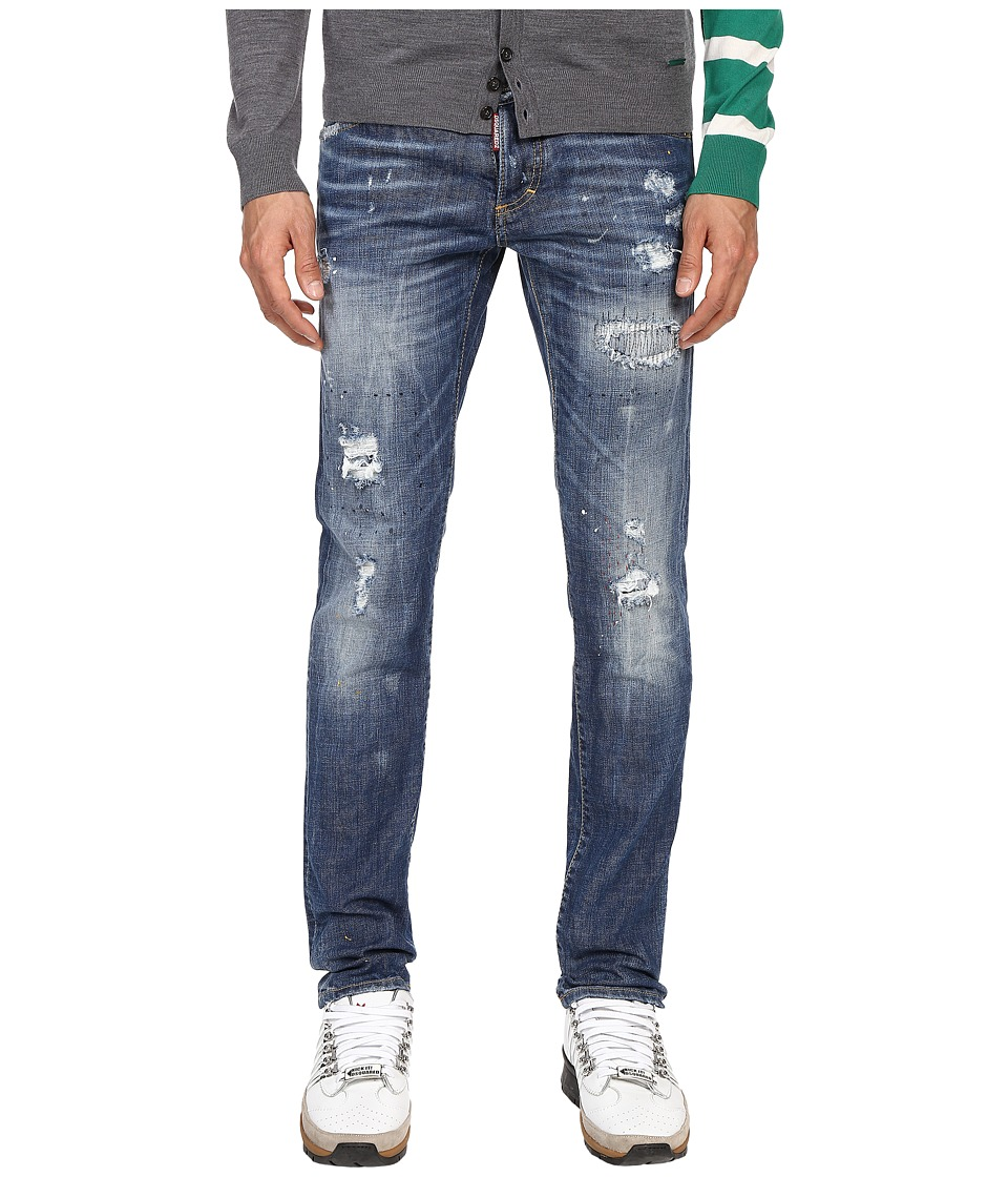 DSQUARED2 - Ripped Black Stitch Wash Five-Pocket Slim Jeans (Blue) Men's Jeans