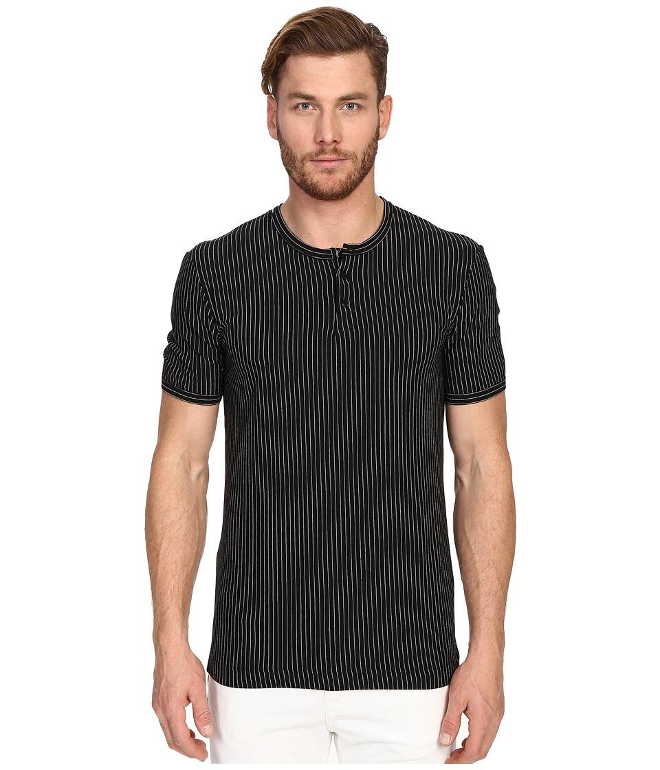 Dolce & Gabbana - Stripes Short Sleeve R-Neck T-Shirt w/ Buttons (Stripes Black Background) Men's T Shirt