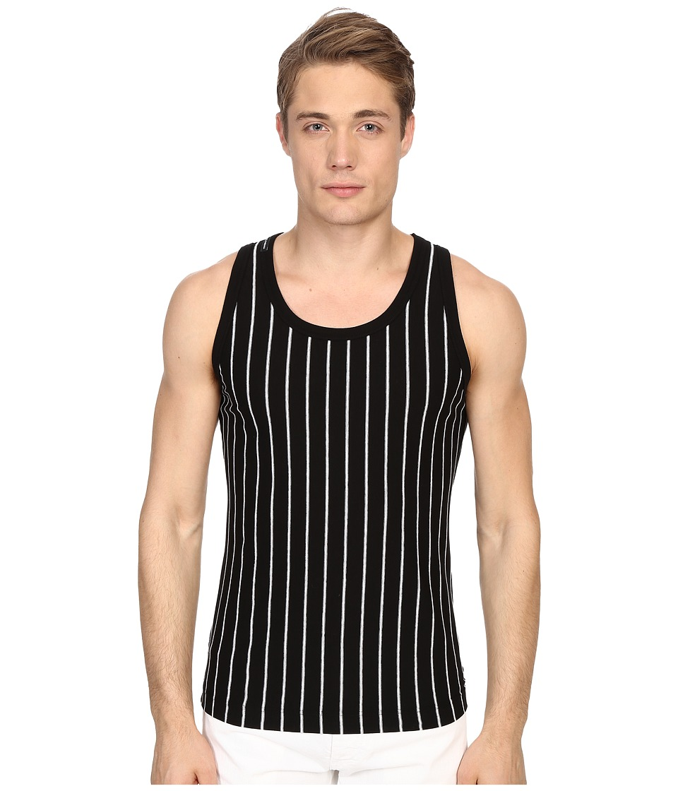 Dolce & Gabbana - Stripes and Pois Tank Top (Wide Stripes Black Background) Men's Sleeveless