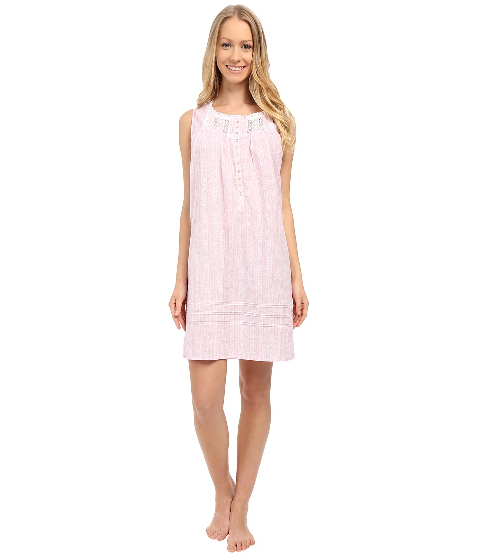 Eileen West - Group Short Chemise (White Ground/Pink Lace Print) Women's Pajama