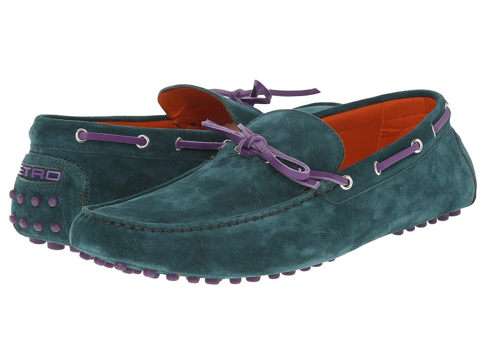 Etro - Suede Driving Mocassin (Sea Green) Men's Shoes