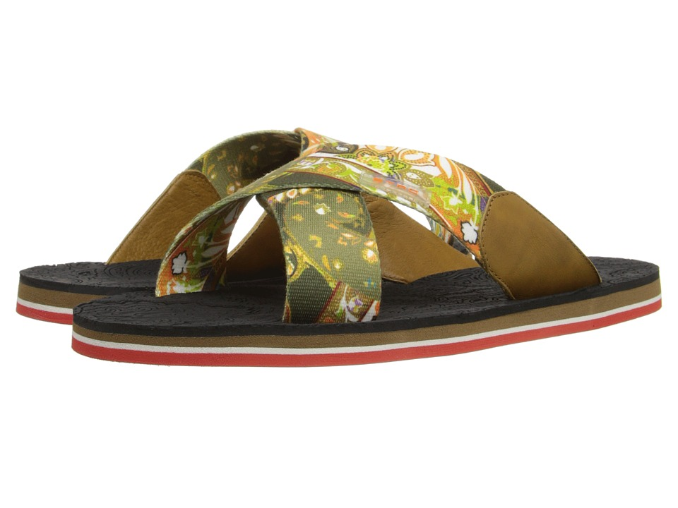 Etro Crisscross Printed Sandal with Paisley Footbed (Multi Print) Men