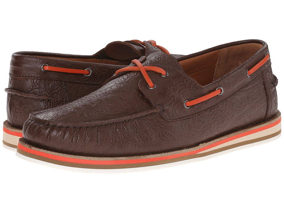 Etro - Paisley Embossed Leather Boat Shoe (Brown) Men's Shoes