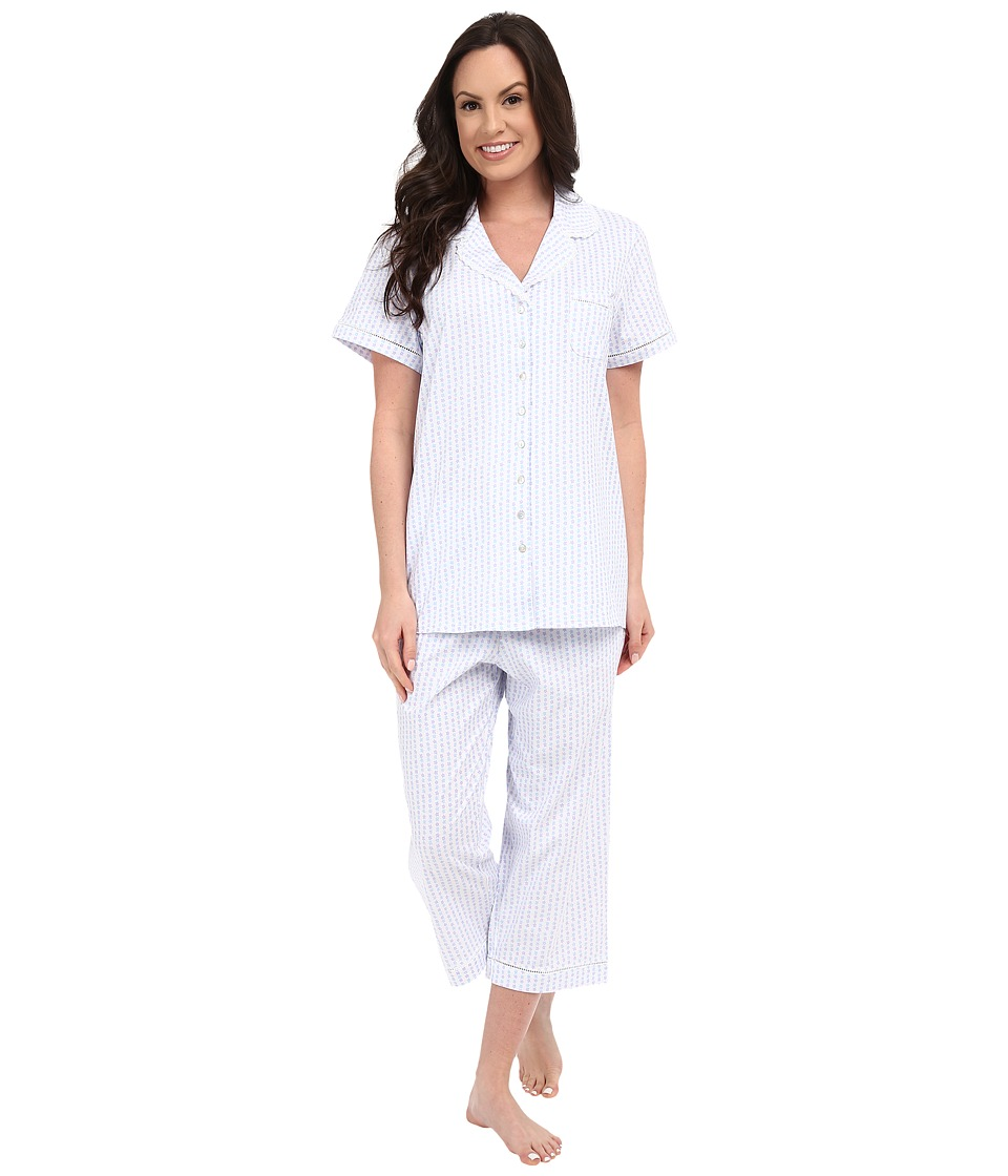 Eileen West - Group Notch Collar Capris PJ (White Ground/Floral Stripe) Women's Pajama Sets
