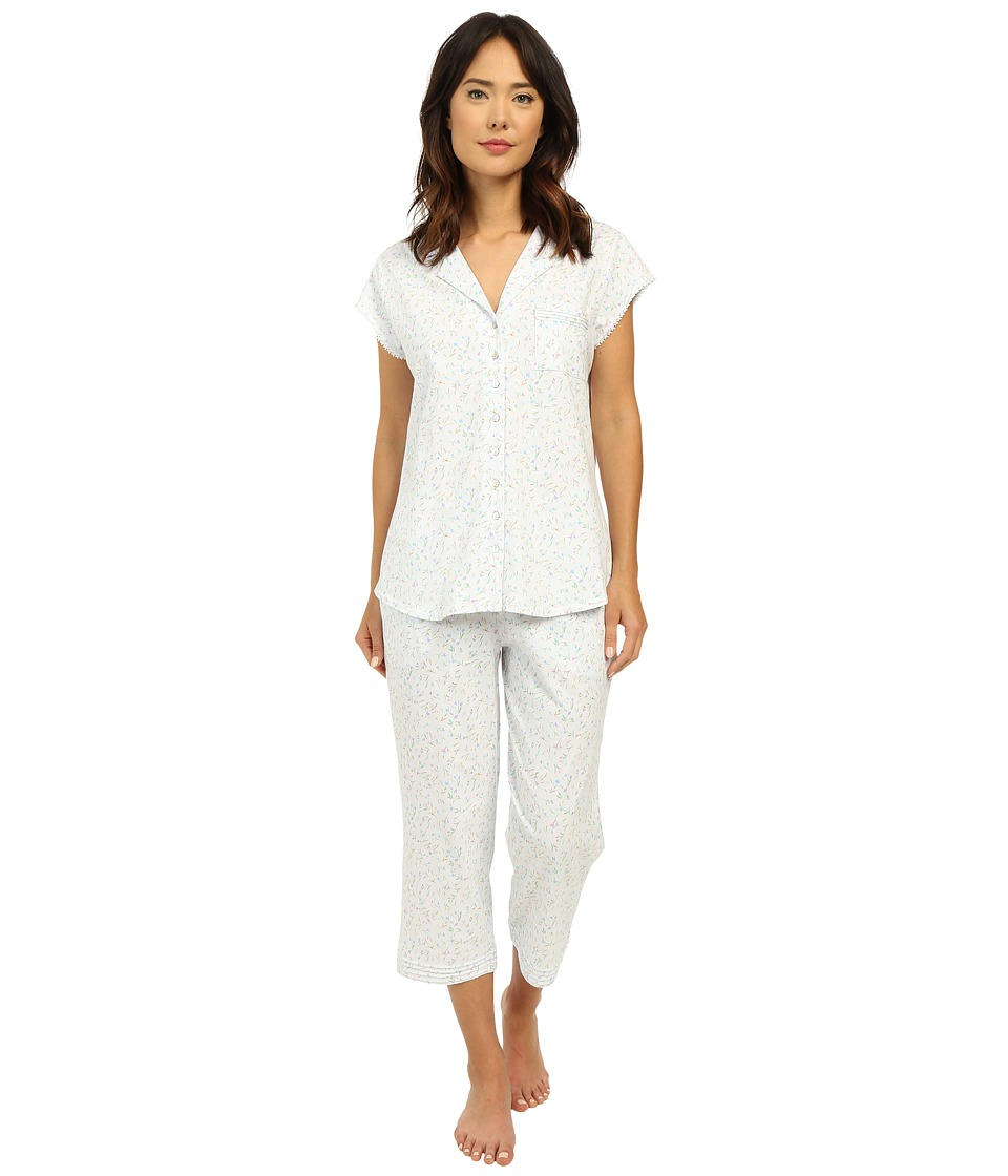 Eileen West - Group Notch Collar Capris PJ (White Ground/Multi Bud Toss) Women's Pajama Sets