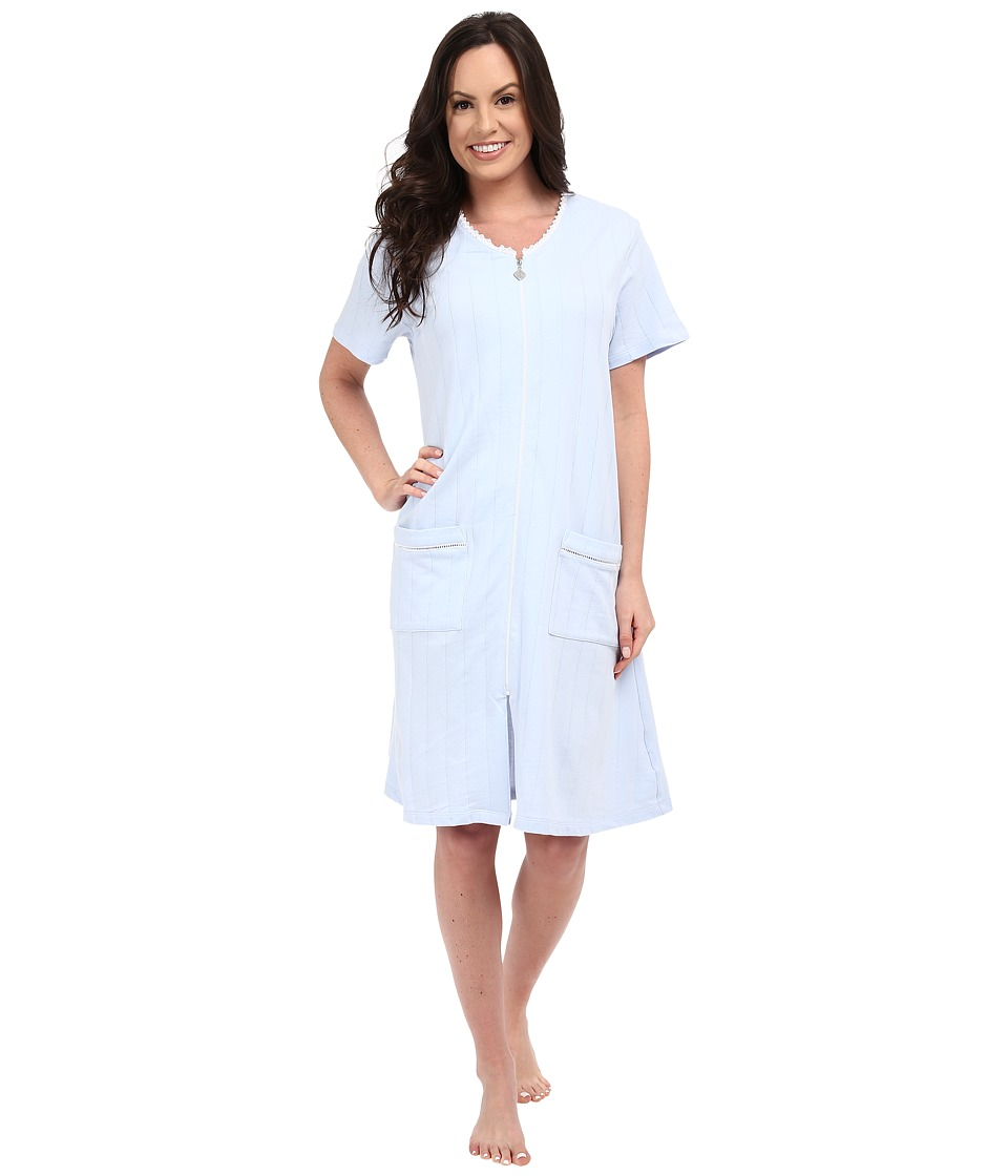 Eileen West - Group Short Zip Robe (Solid Light Blue) Women's Robe plus size,  plus size fashion plus size appare