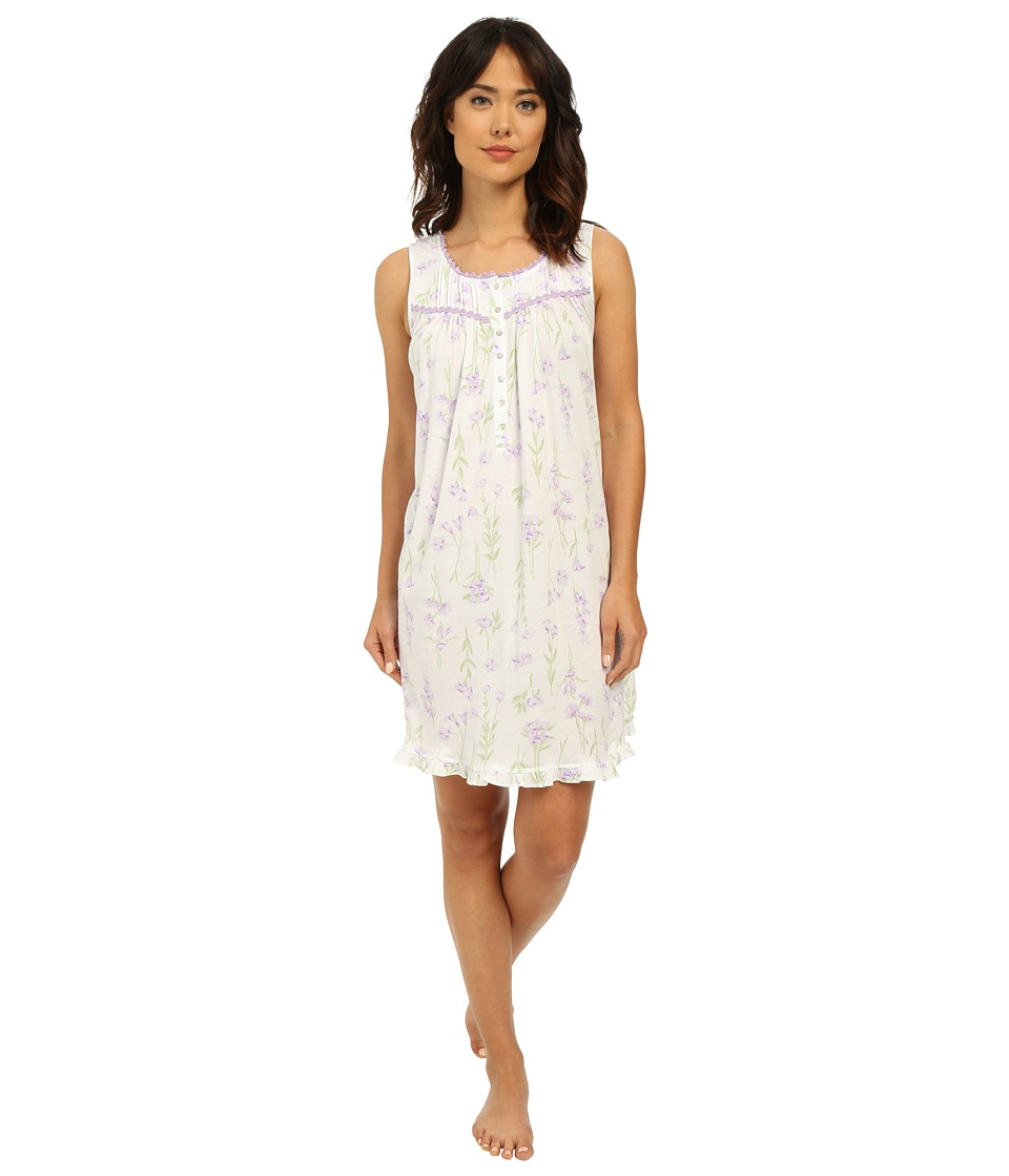 Eileen West - Group Short Chemise (White Ground/Lilac Floral) Women's Pajama