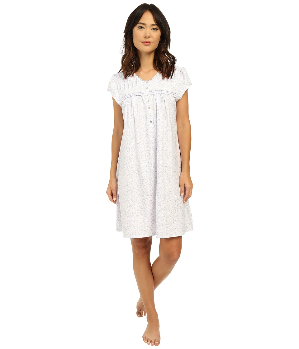 Eileen West - Group Short Nightgown (White Ground Floral Scroll) Women's Pajama
