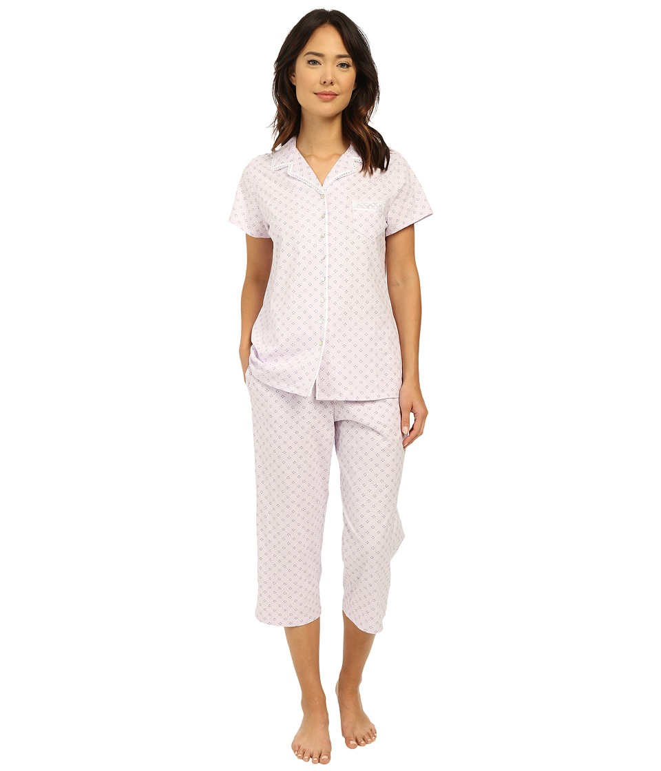 Eileen West - Group Notch Collar Capris PJ (Light Lilac Ground Diamond) Women's Pajama Sets