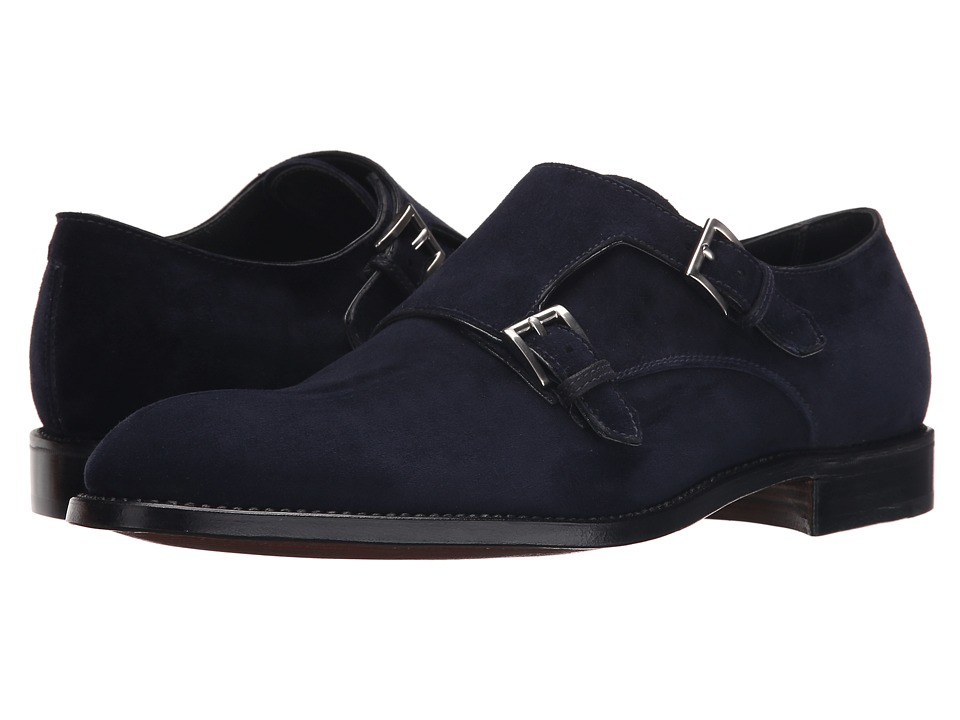 Gravati - Velukid Plain Toe Double Monk Strap (Navy) Men's Monkstrap Shoes
