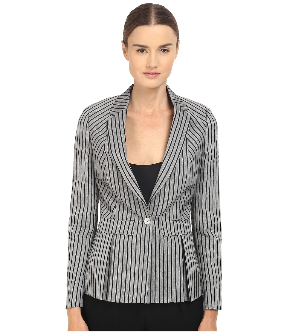 Paul Smith - Black Label Horizontal Stripe Blazer (Grey/Navy) Women's Jacket