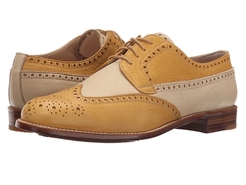 Gravati - Calf Leather Wing Tip (Marigold/Beige) Women's Lace Up Wing Tip Shoes
