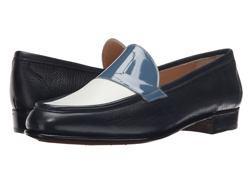 Gravati - Calf Leather Loafer (Navy/White/Blue) Women's Slip-on Dress Shoes