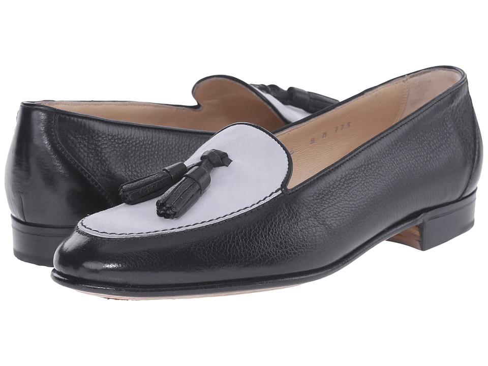 Gravati - Mou Calf and Velukid Suede Tassle Loafer (Black/Light Grey) Women's Slip on Shoes