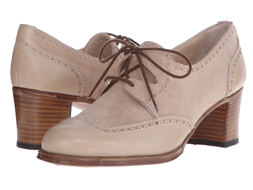 Gravati - Mou Leather and Velukid Heeled Wingtip (Sand/Deep Sand) Women's Lace Up Wing Tip Shoes