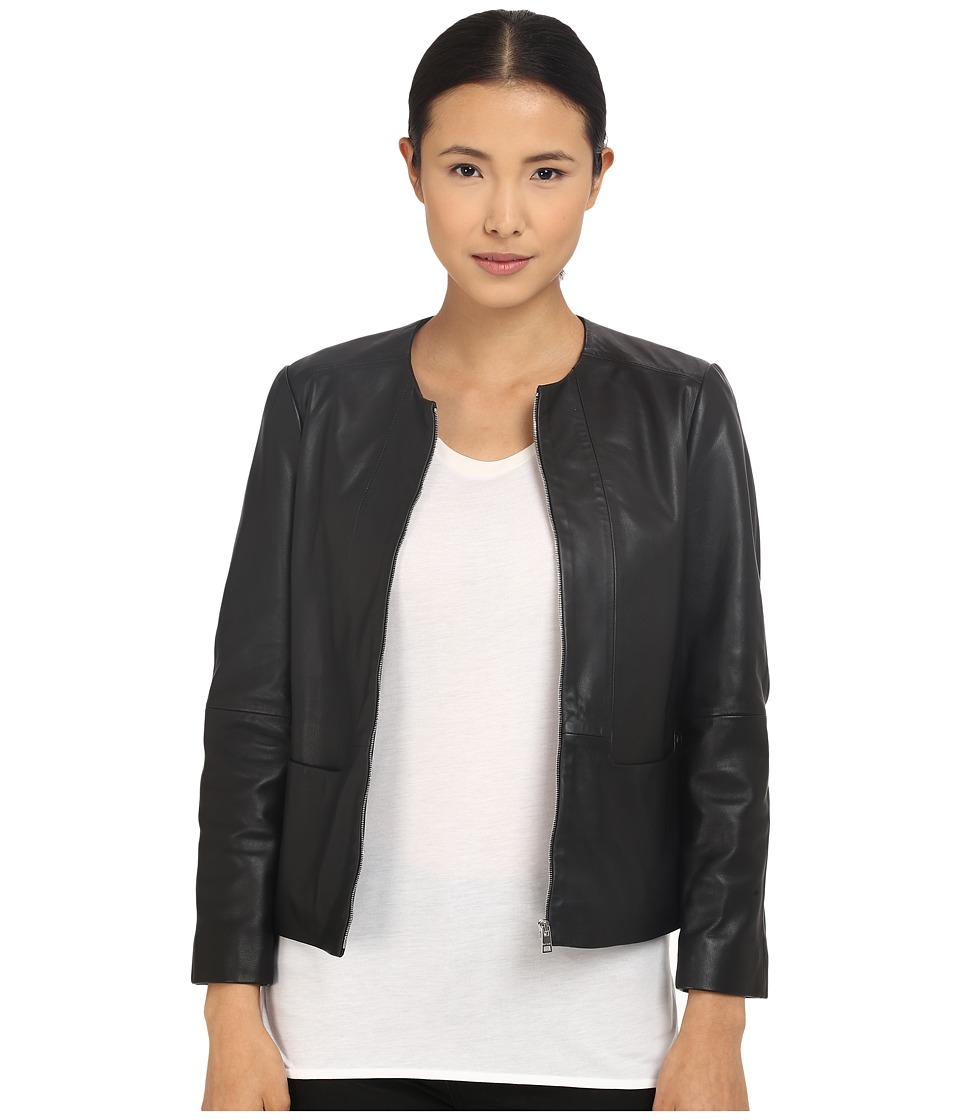 Paul Smith - Black Label Zip Leather Jacket (Black) Women's Coat