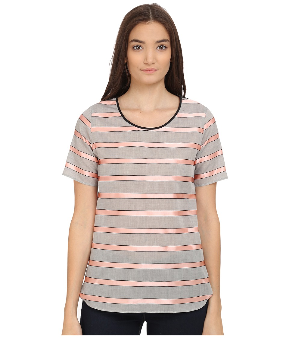 Paul Smith - Black Label Horizontal Stripe Short Sleeve Shirt (Pink/Grey) Women's Clothing