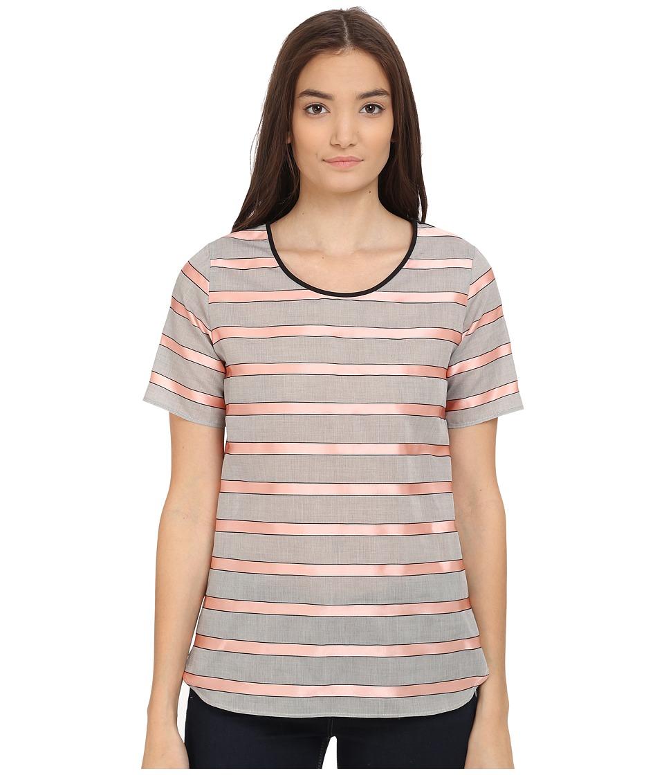 Paul Smith - Black Label Horizontal Stripe Short Sleeve Shirt (Pink/Grey) Women's Clothing