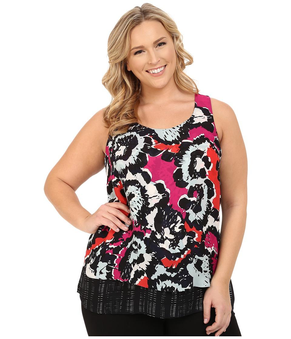 NIC+ZOE - Plus Size Art Pop Layer Top (Multi) Women's Blouse