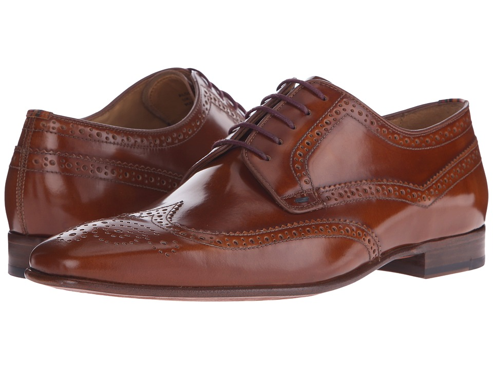 Paul Smith - PS Aldrich Hobar Antick High Shine Wingtip Derby (Tan) Men's Shoes