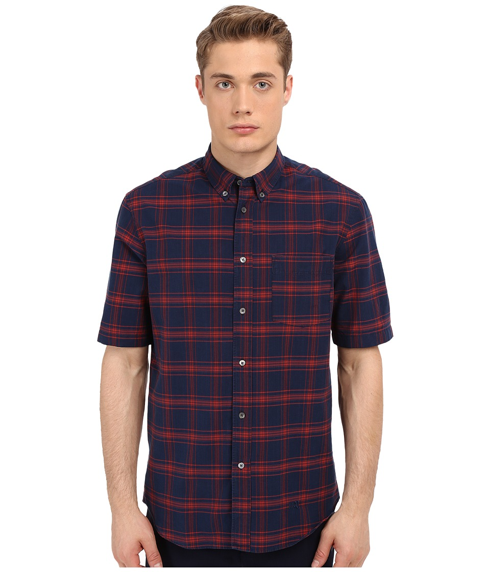 McQ - Short Sleeve Shields 04 Button Up (Indigo Check) Men's Short Sleeve Button Up