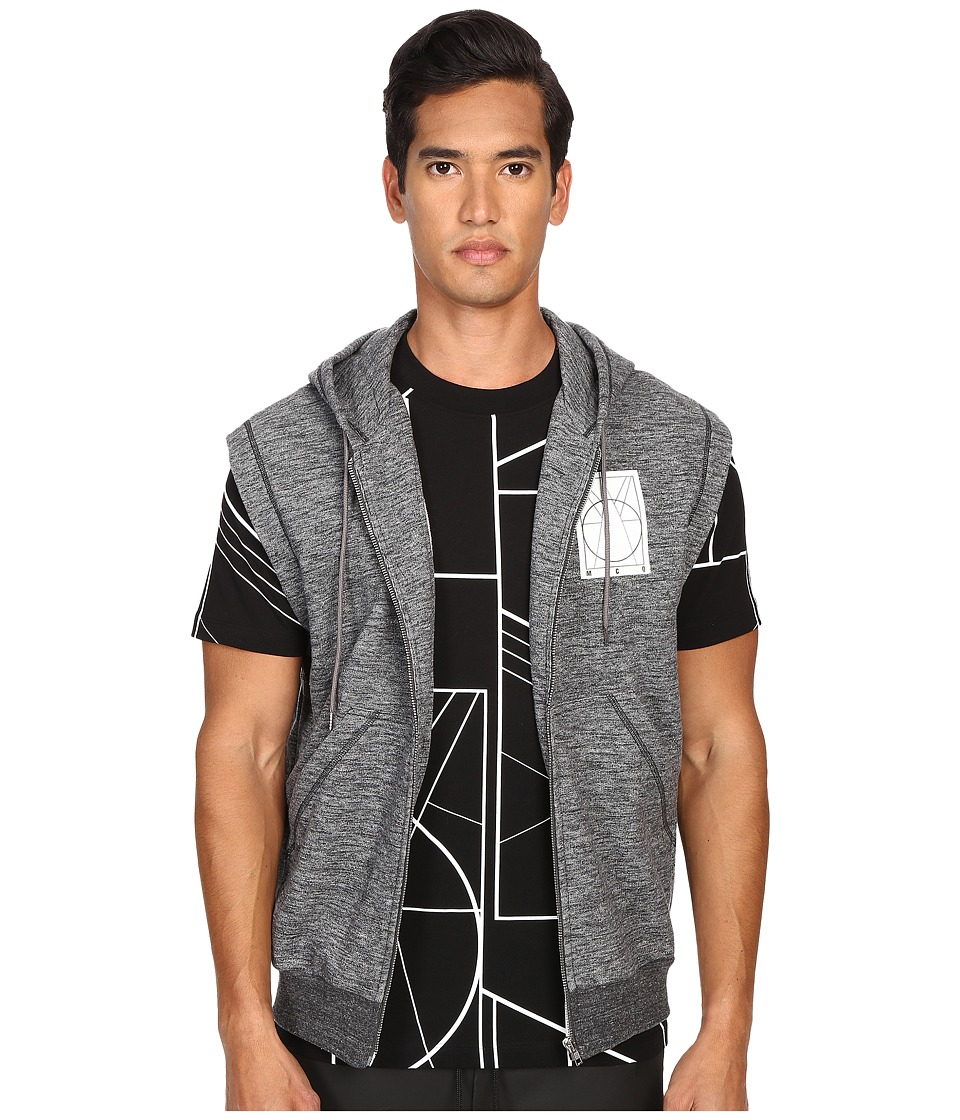 McQ - Coverlock Sleeveless Zip Hoodie (Railing Grey Melange) Men's Sweatshirt