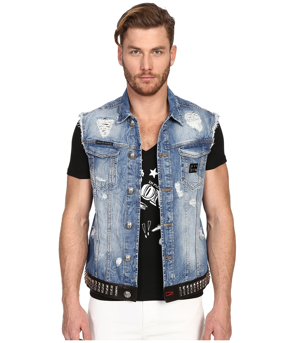 Philipp Plein - Dead Punk Denim Vest (Los Angeles) Men