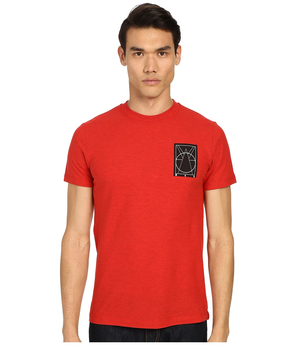 McQ - Coverlock Logo Crew Tee (Overdye Red) Men's Short Sleeve Pullover