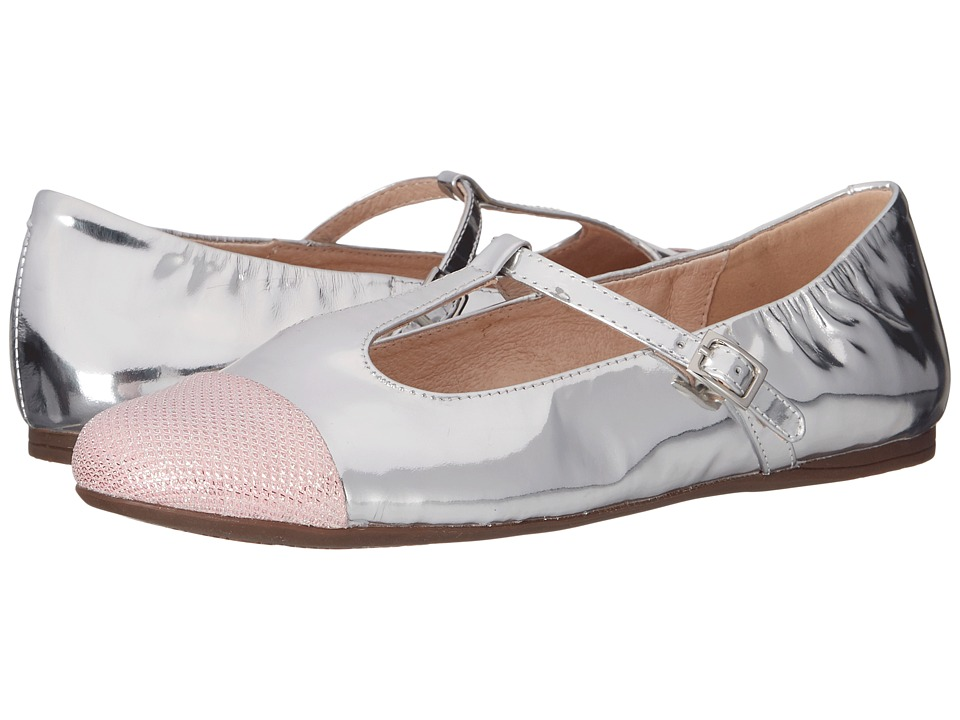 Venettini Kids - 55-Annie (Little Kid/Big Kid) (Pink Fabric/Silver Mirror Leather) Girl's Shoes