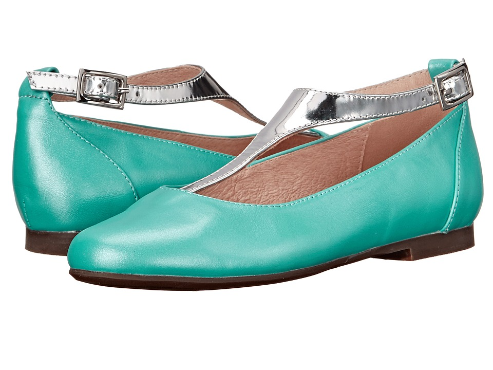 Venettini Kids - 55-Francis (Little Kid/Big Kid) (Teal Pearlized Leather/Silver Mirror Leather) Girls Shoes